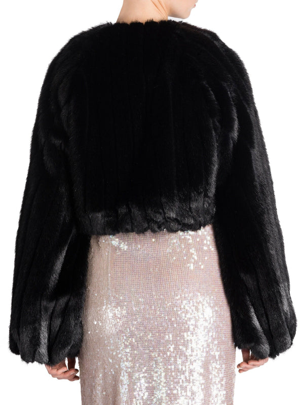Attico Faux Fur Cropped Jacket