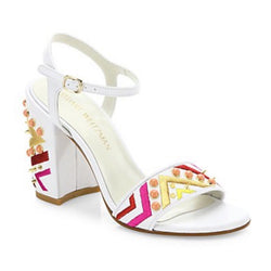 Stuart Weitzman Studded Embroidered Block-Heel Sandal
