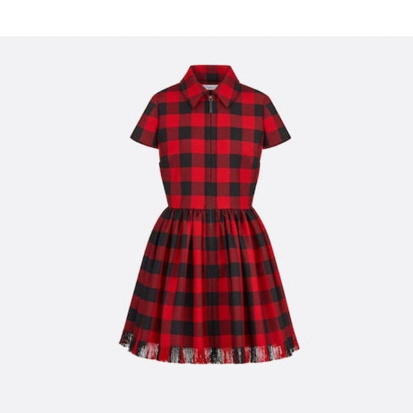 Christian Dior Plaid Zip Dress