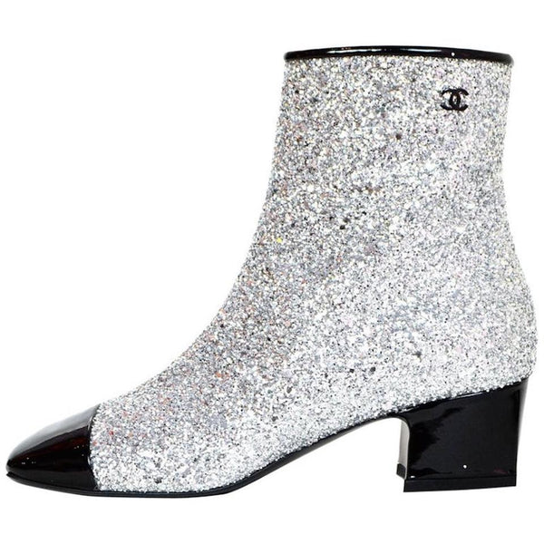 Chanel Glitter Ankle Boots