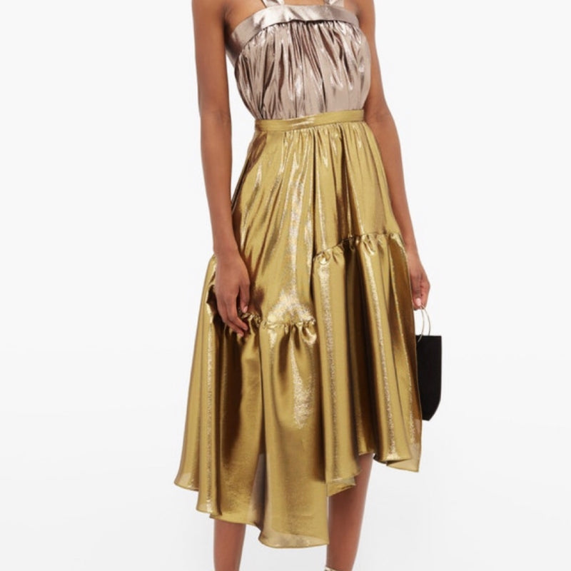 Rochas Tiered Lamé Skirt