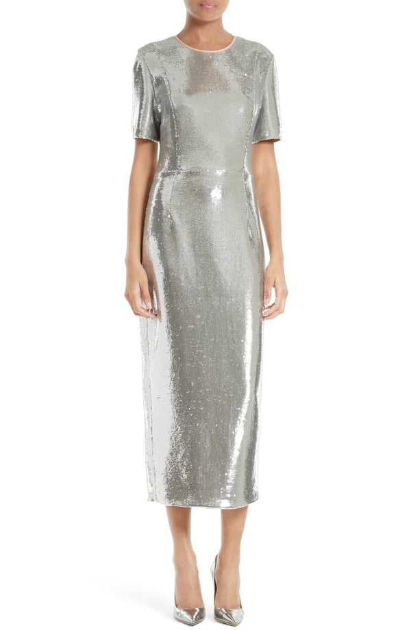 Diane von Furstenberg Sequined Sheath Midi Dress