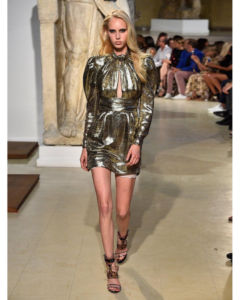 Dundas Cutout Metallic Lame Dress