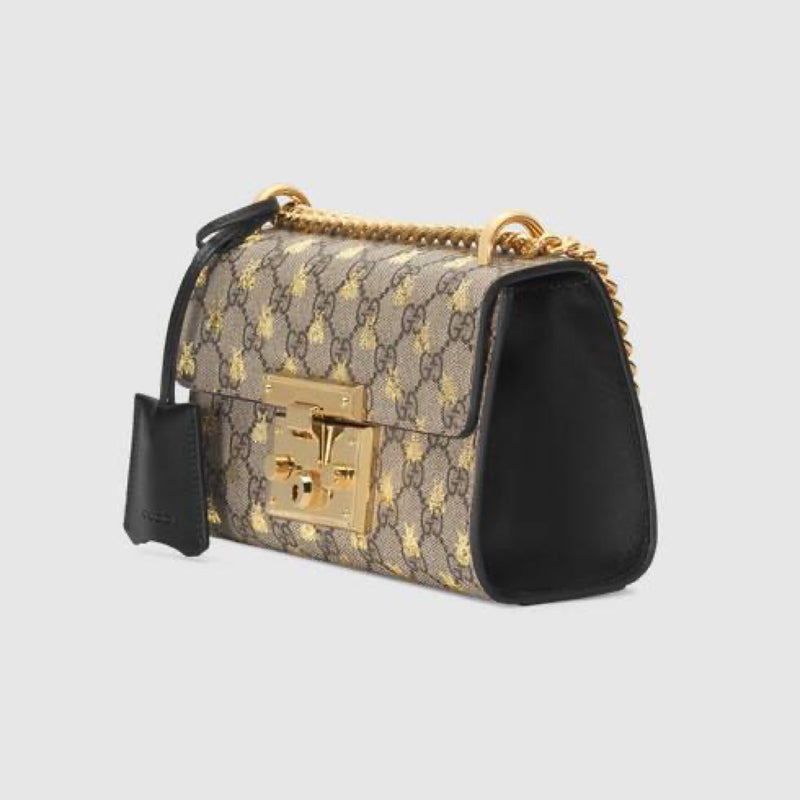 Gucci Padlock Small GG Bees Shoulder Bag