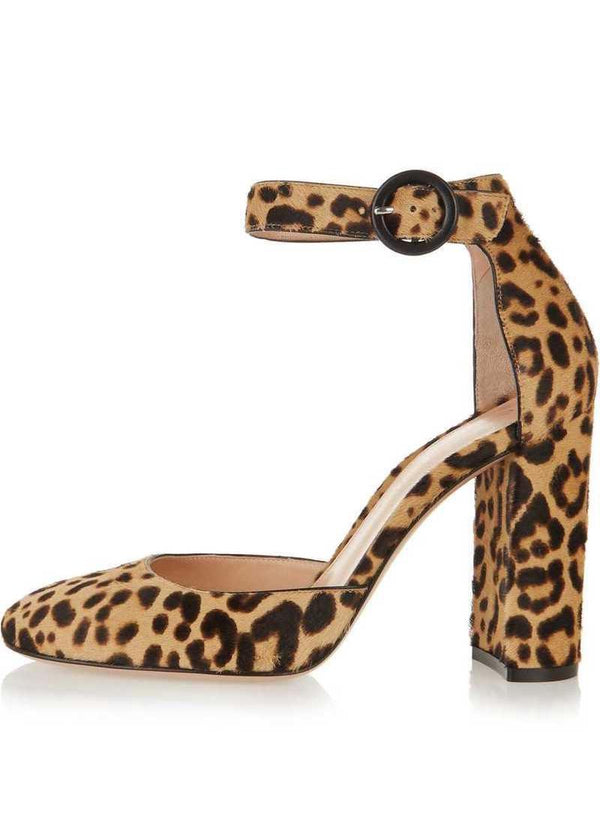 Gianvito Rossi Leopard Print Calf Hair Pumps