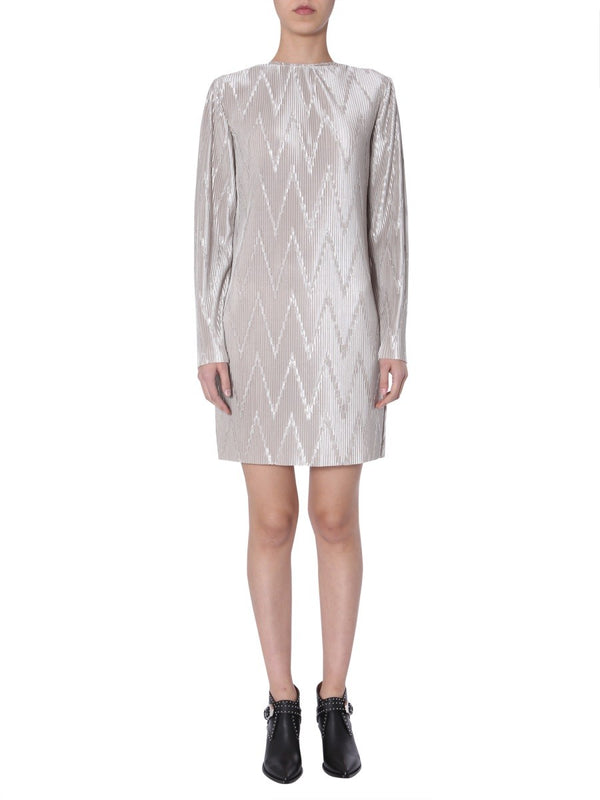 Givenchy Long Sleeve Zig-Zag Plisse Mini Dress
