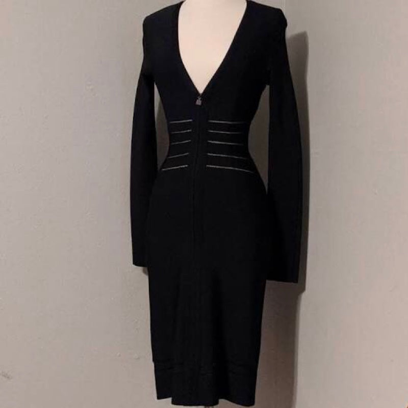 Herve Leger Black Long Sleeve Midi Dress
