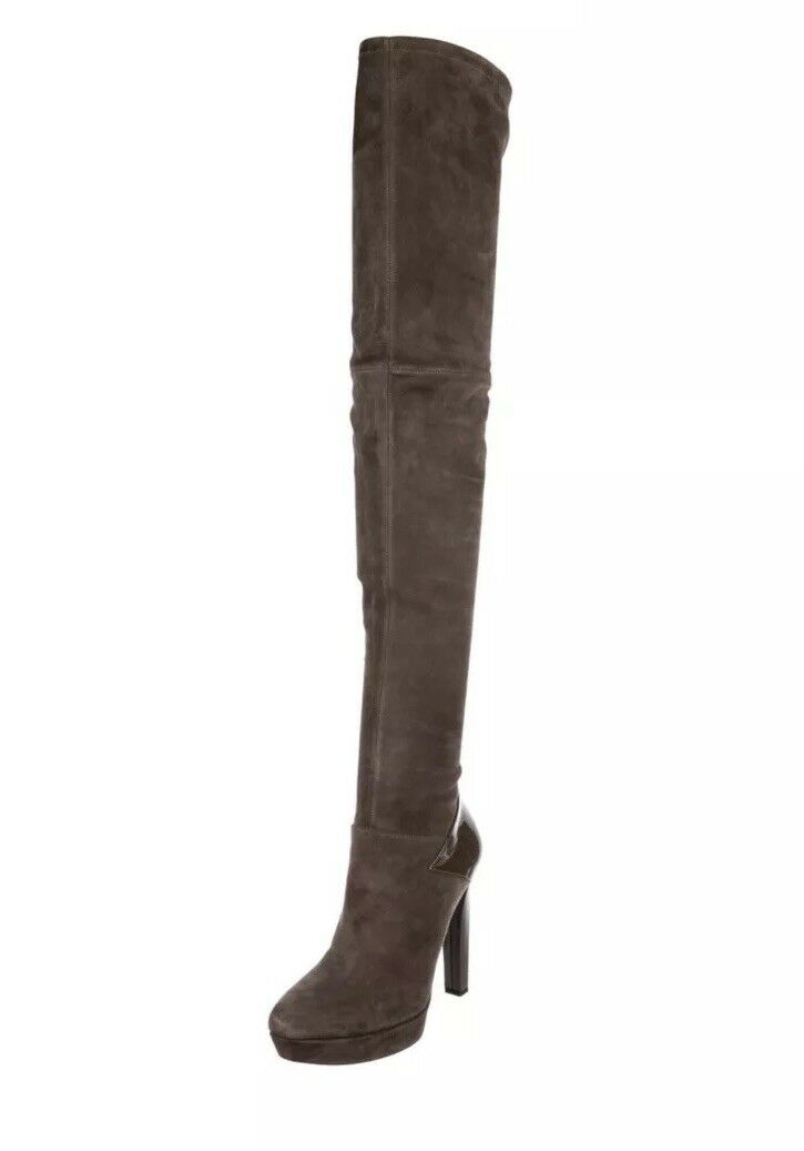 Gucci Suede And Patent Leather Olive Over The Knee Boots