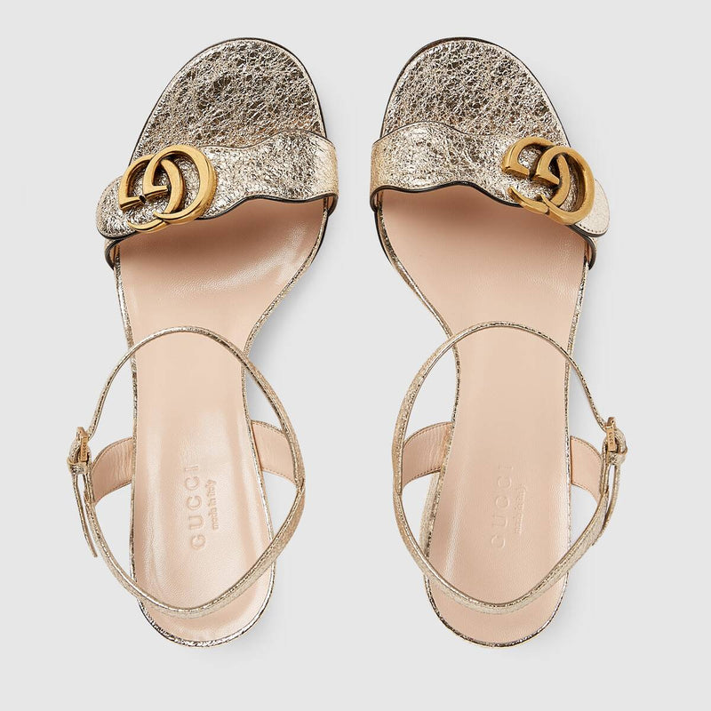 Gucci Metalic Laminate Leather Mid-heel Sandal