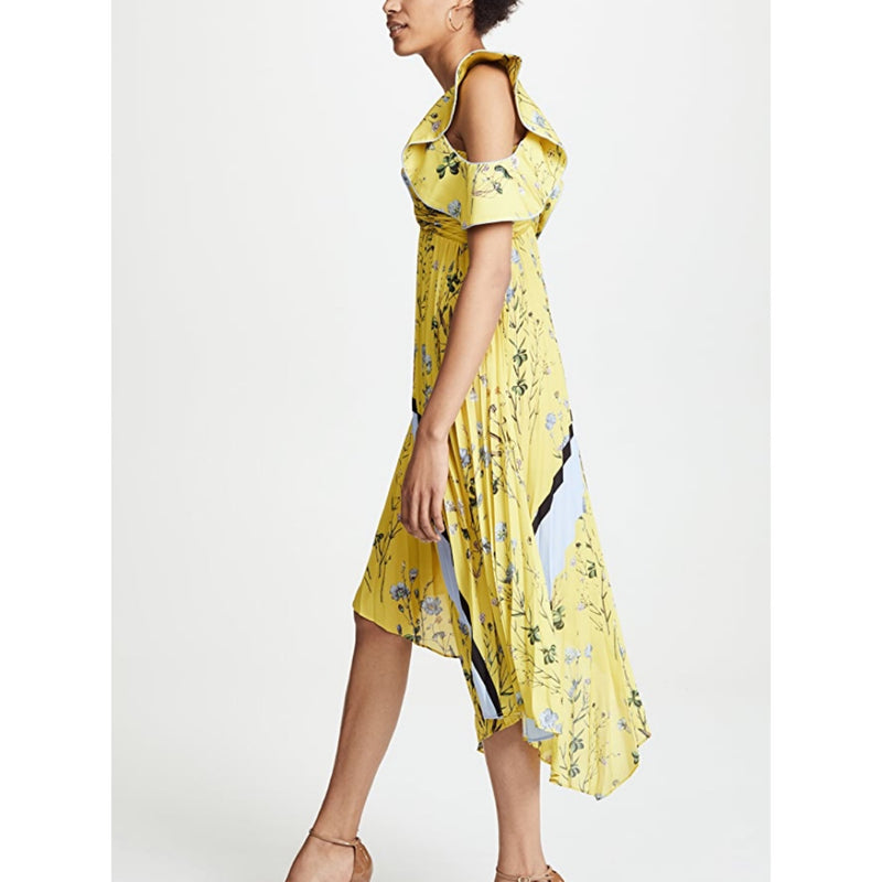 Self-Portrait Pleated Asymmetric Floral Dress