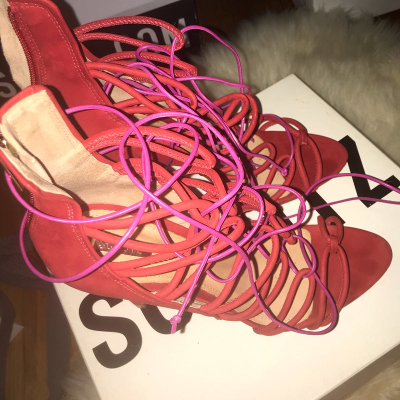 Schutz Lace up Sandals