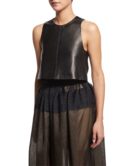 J. Mendel Seamed Leather Crop Top