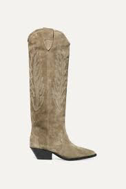 Isabel Marant Denzy Embroidered Suede Knee Boot