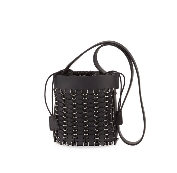 Paco Rabanne Mini Chain Link Leather Bucket Bag