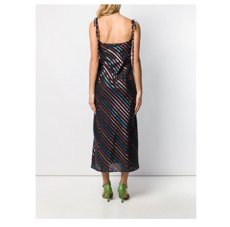 Attico Metallic Striped Dress