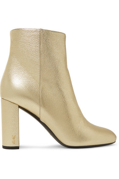 Saint Laurent Lou Lou Metallic Ankle Boots