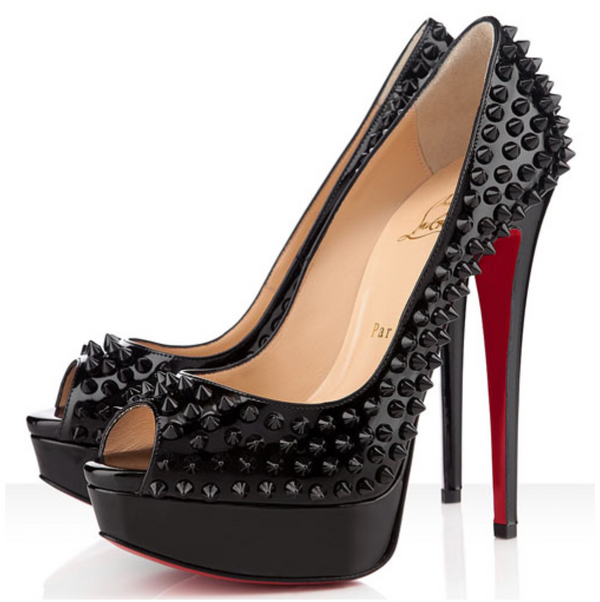 Christian Louboutin Black Lady Peep Spikes Pumps