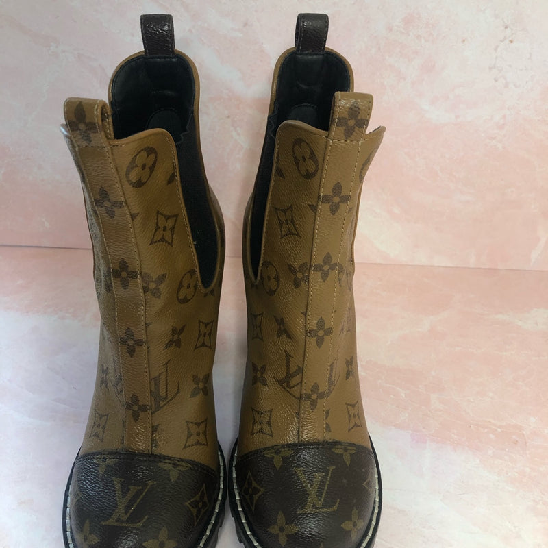 Louis Vuitton Patent Reverse Monogram Ankle Boot