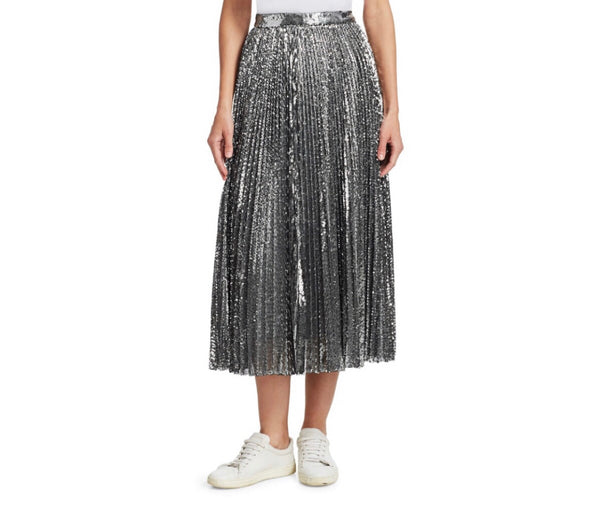 MSGM Sequin Pleated Midi Skirt