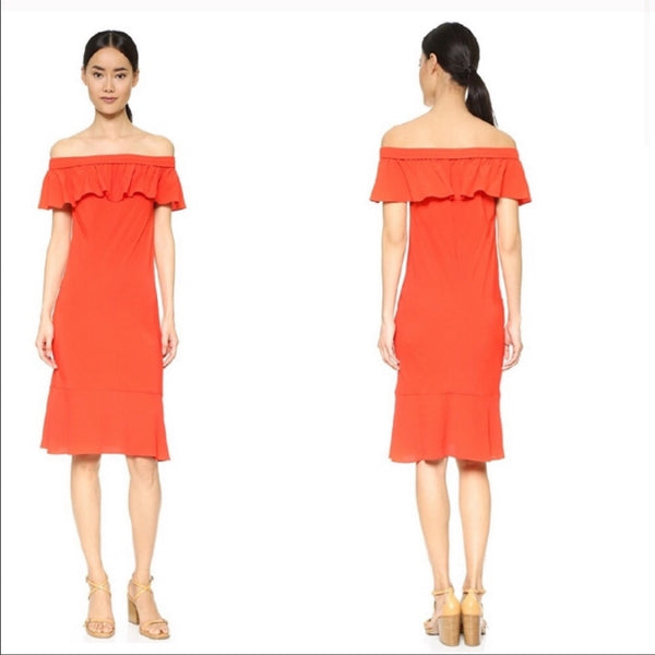 Veronica Beard Red Off-the-Shoulder Dress