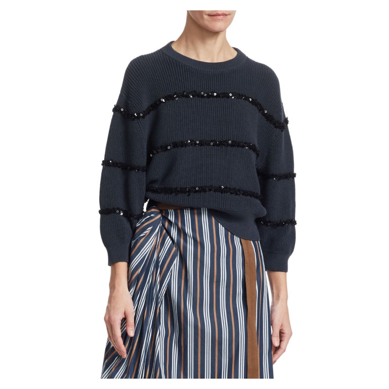 Brunello Cucinelli Paillette Stripes Sweater