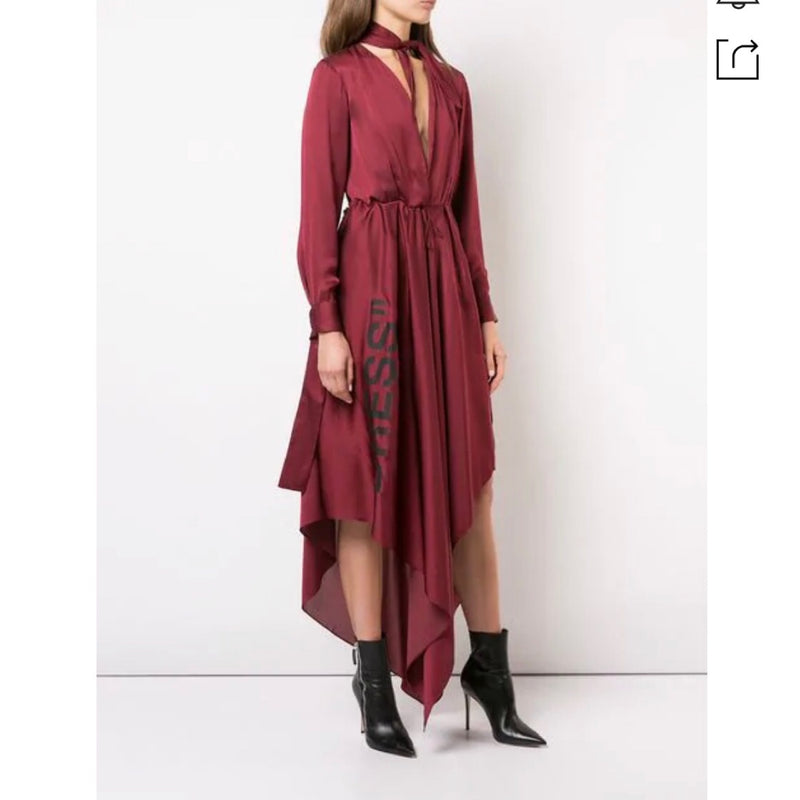 Off-White Cutout-Back Foulard Dress In Red