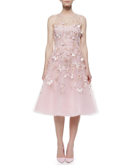 Oscar de la Renta Strapless Bedded & Feather Cocktail Dress