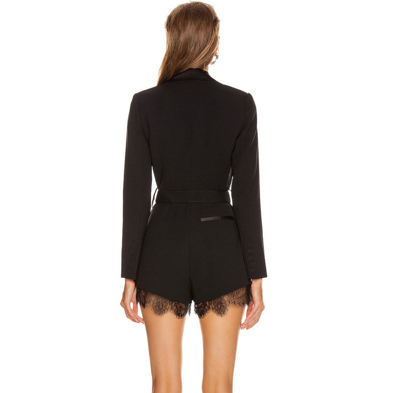Self-Portrait Tailored Black Playsuit