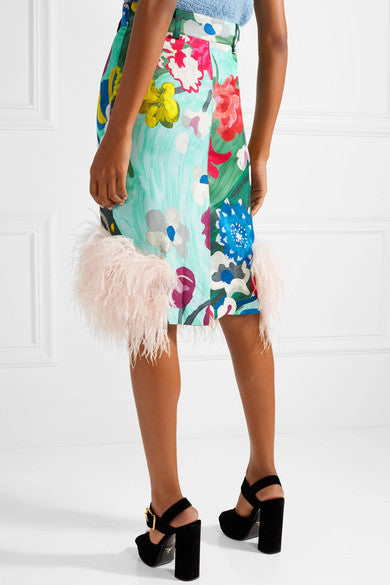 Prada Feathered Satin Skirt