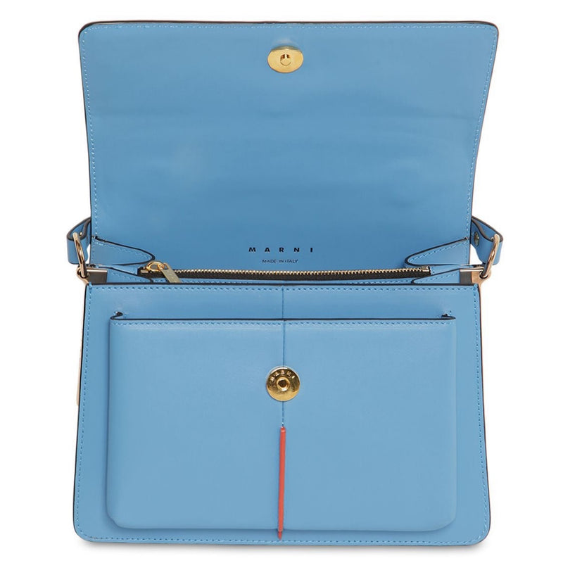 Marni Attaché Bag In Blue Calfskin