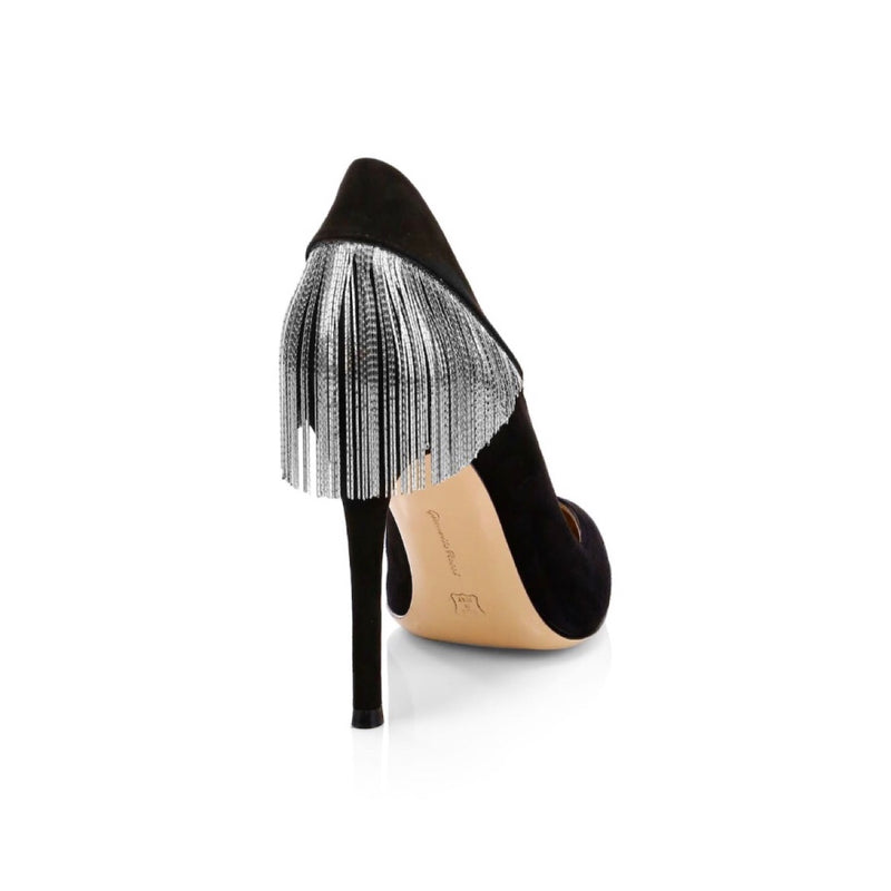Gianvito Rossi Fringe Suede Point Toe Pumps