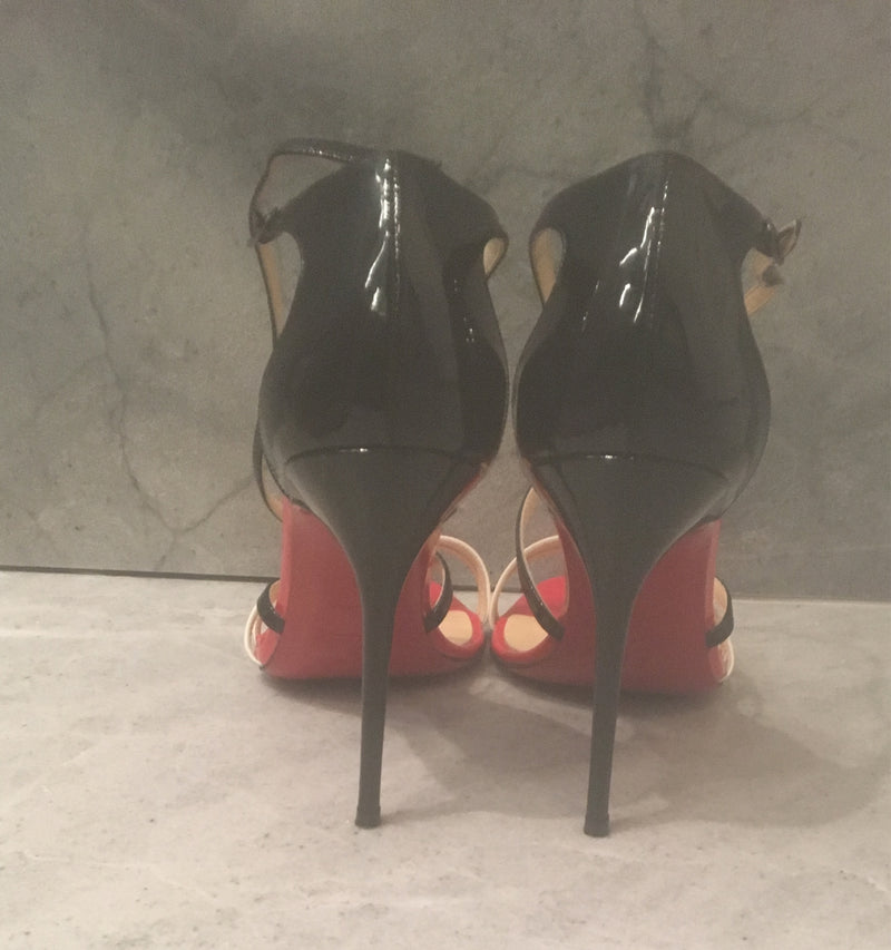 Christian Louboutin Patent Leather 'Gwynitta 100' Stiletto Sandals