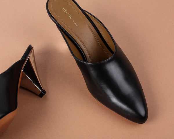 Céline Black Leather Mule with Silver Heal