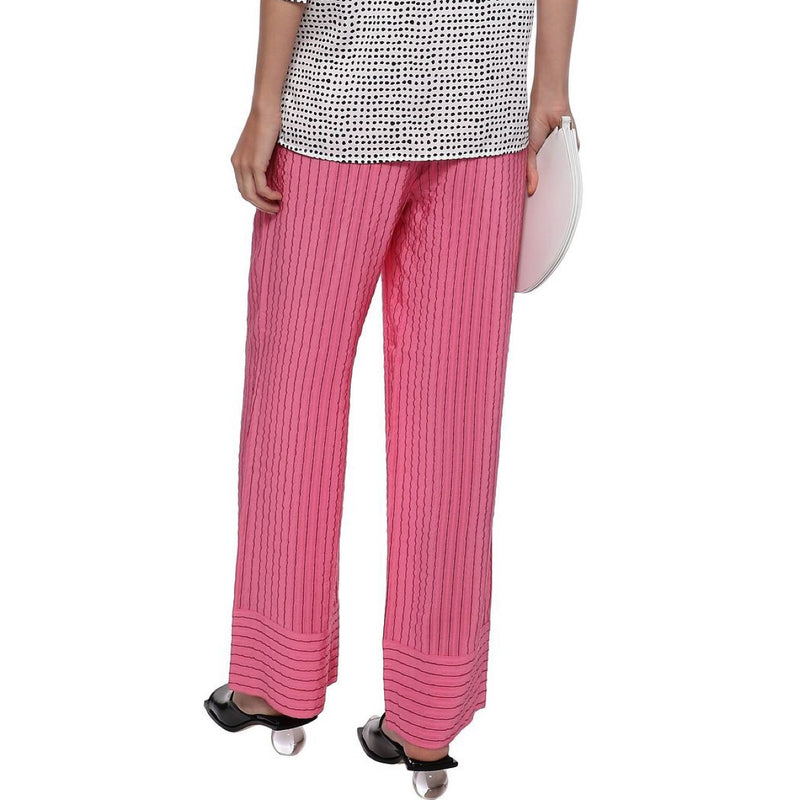 Ganni Lynch Striped Silk-Blend Seersucker Straight-Leg Pants