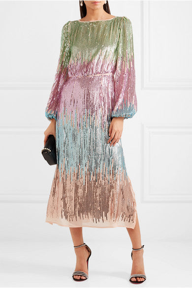 Rixo London Coco Sequined Tulle Midi Dress