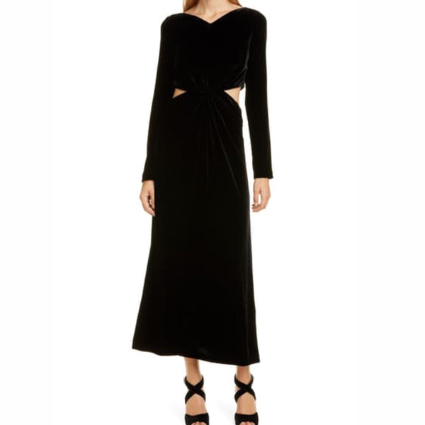 Rachel Comey Cutout Waist Long Sleeve Velvet Dress