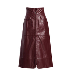 Sea Lidia A-line Leather Skirt