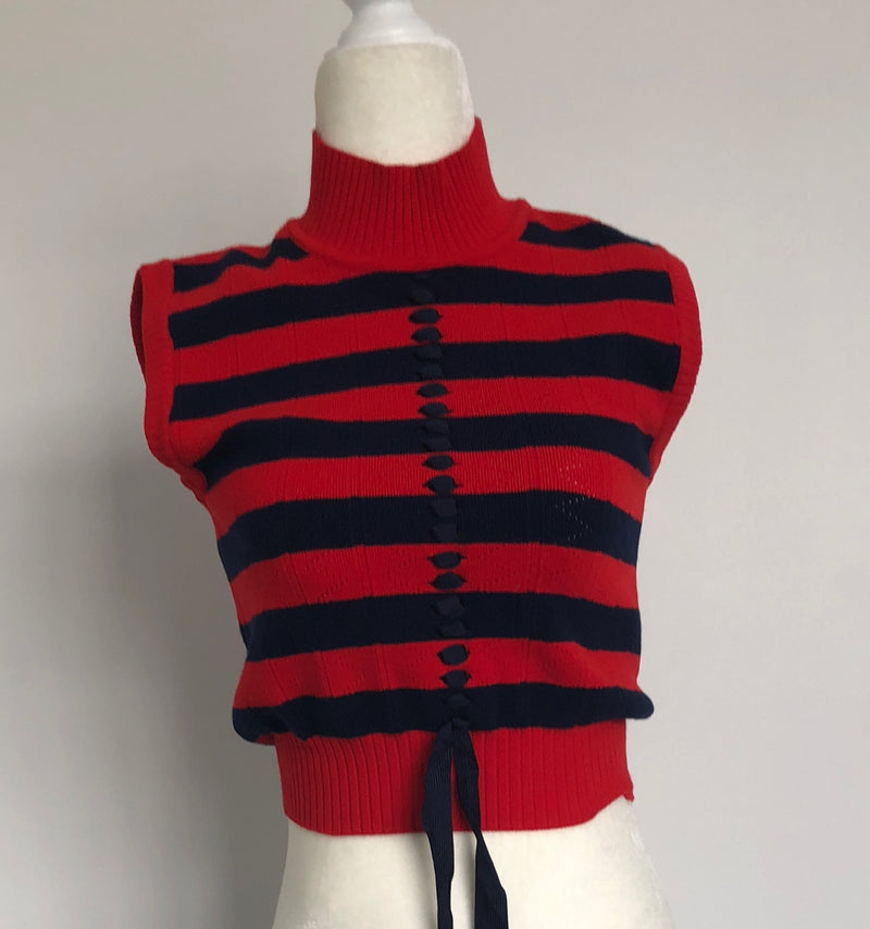 Fendi Striped Tie-Front Crop Top