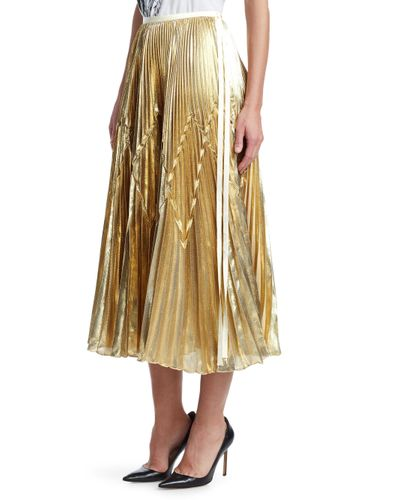 Tre by Natalie Ratabesi Imelda Metallic Pleated Midi Skirt
