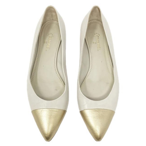 Chanel Gold Cap Toe Flats