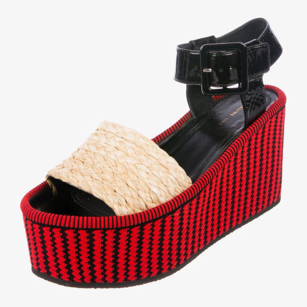 Céline Patent Leather and Straw Flatform Sandals