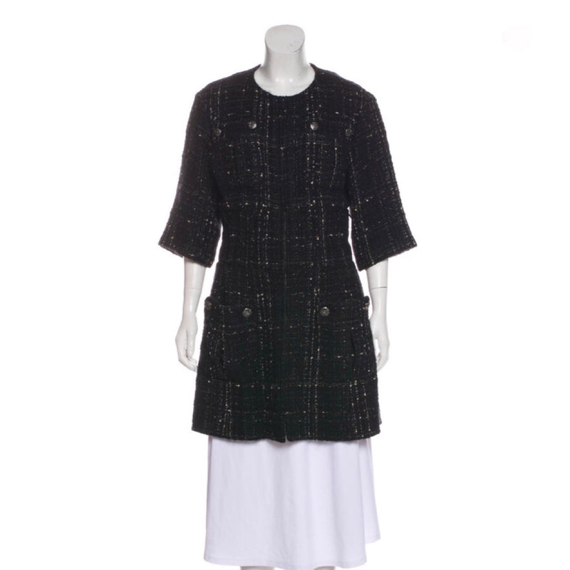 Chanel Wool Blend Tweed Coat