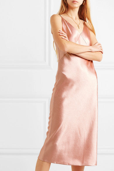 Vince Hammered-Satin Midi Dress
