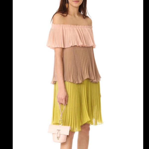 Delfi Collective Pleated Tiered Off-the-Shoulder Dress