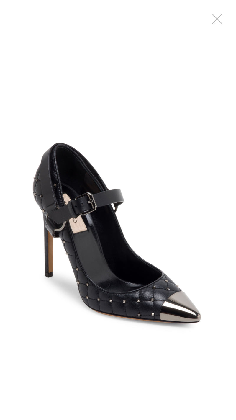Valentino Rockstud Cap Toe Mary Jane Pumps