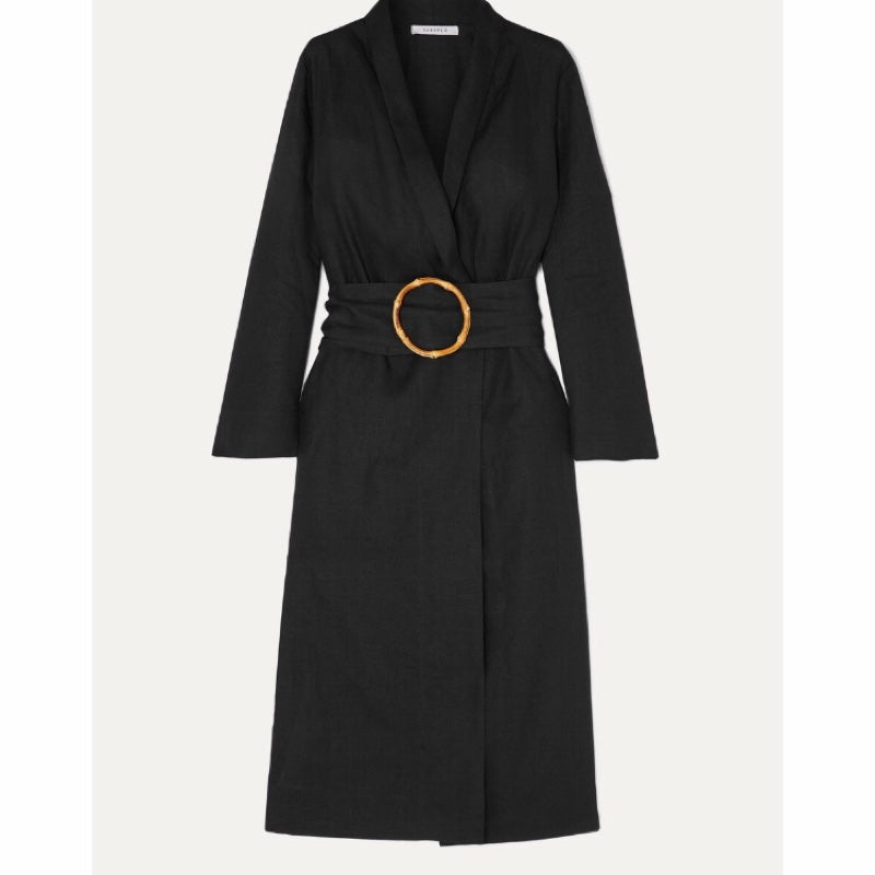 Sleeper Belted Linen Robe Dress