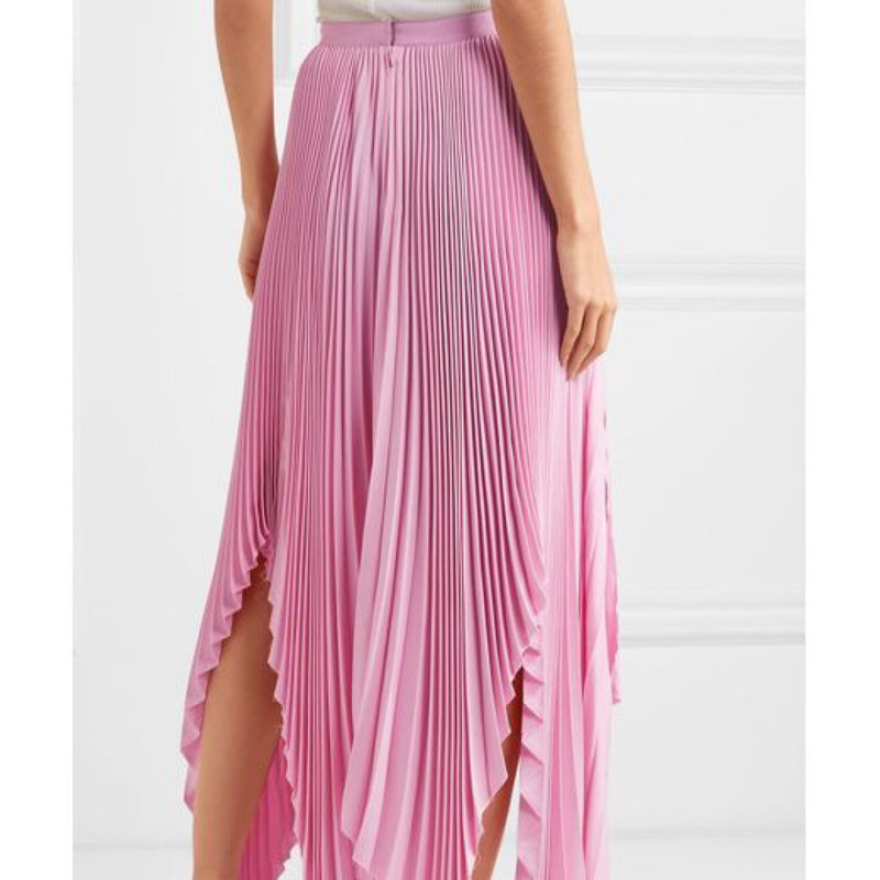 Khaite Charlotte Pleated Asymmetrical Midi