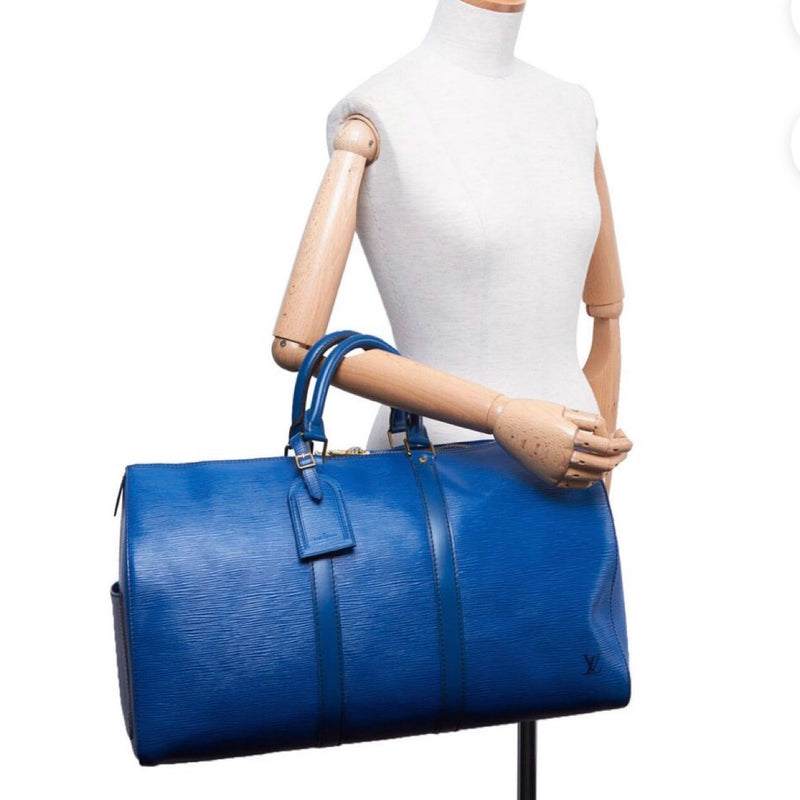 Louis Vuitton Blue Epi Leather Keepall 45 France