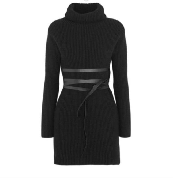 Valentino Ribbed Knit Turtleneck Sweater Dress