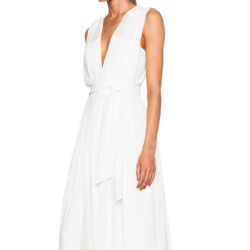 L'Agence Long Deep V Pleated Gown